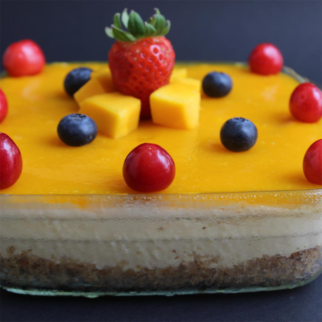 Mango Cheesecake Recipe with Mango Pulp – No bake, Eggless