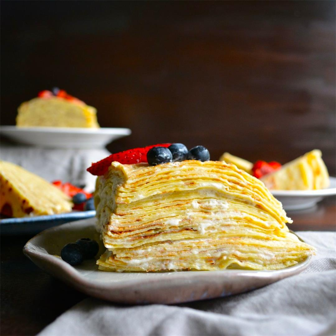 Lemon & Berry Crepe Cake - perfectly light and not too sweet!