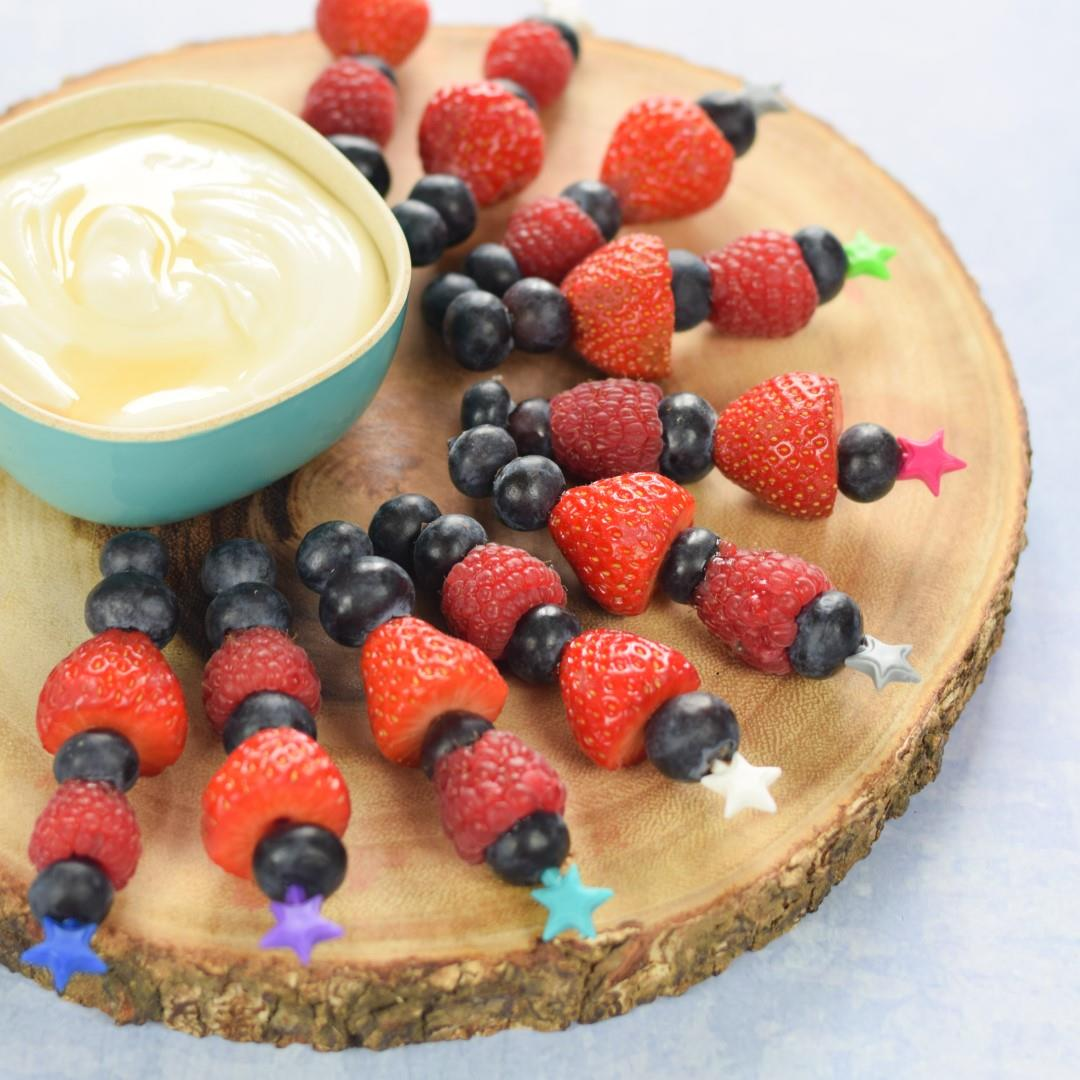 Summer Berry Skewers with Honey Vanilla Dip