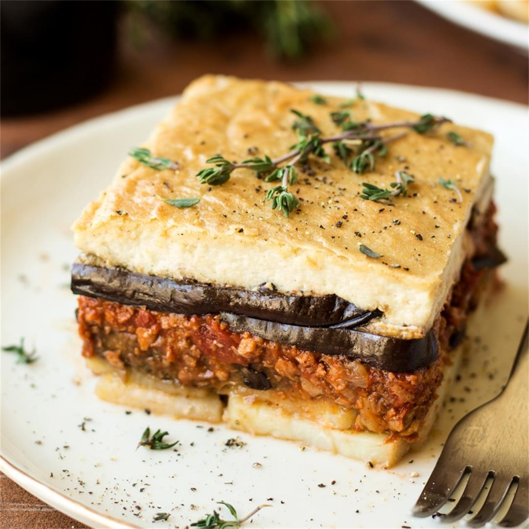 Vegan moussaka with creamy bechamel