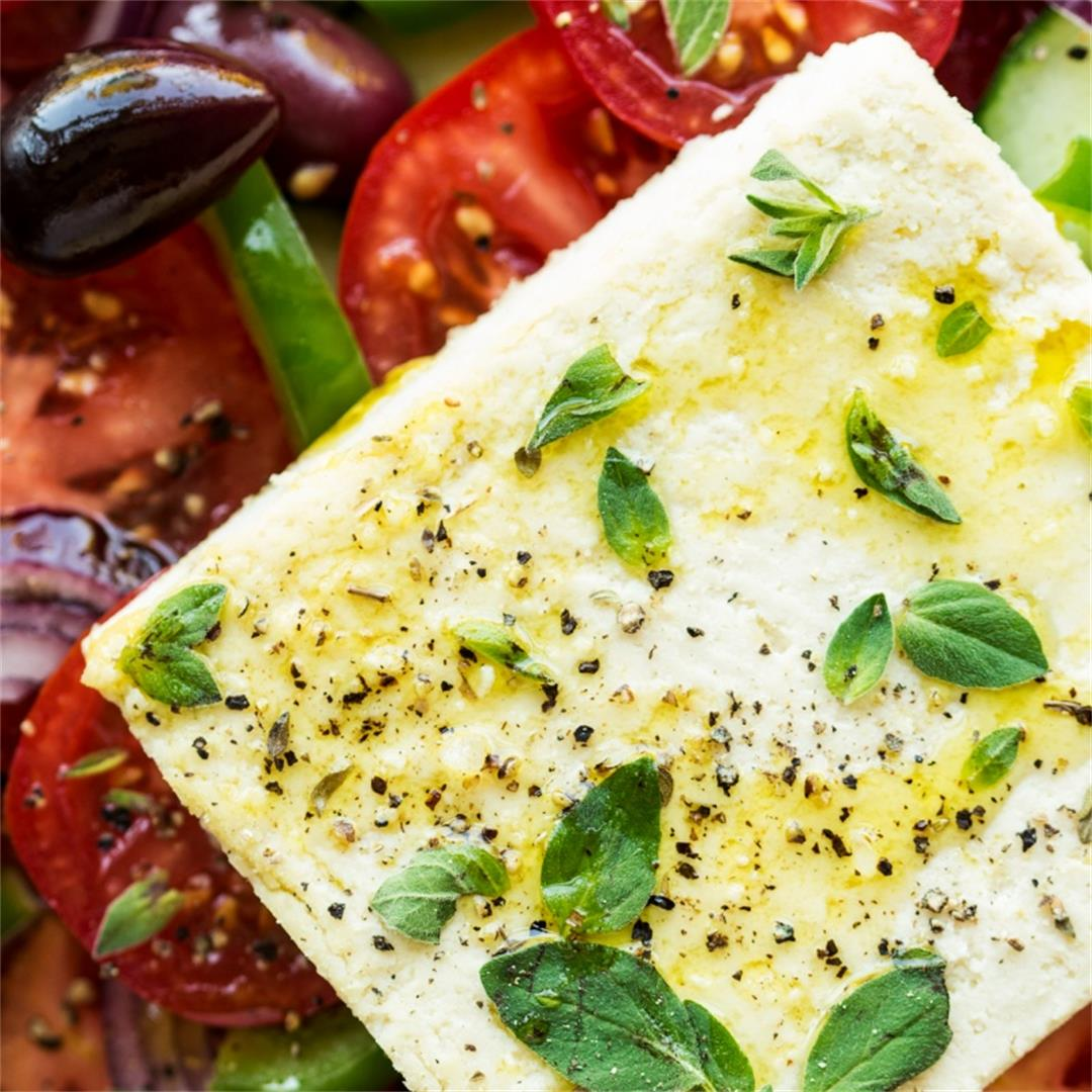 Greek salad with vegan feta