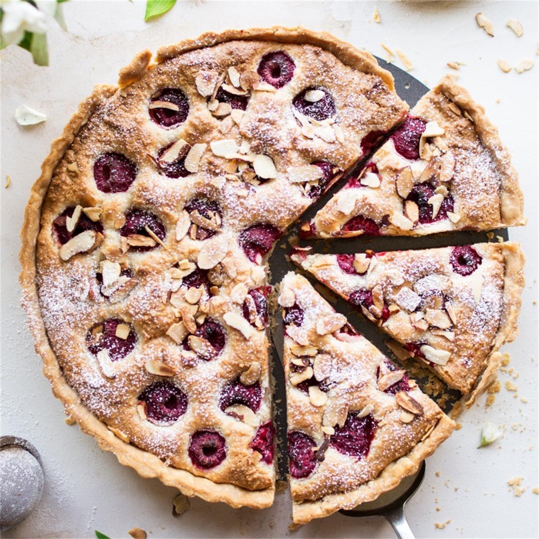 Vegan raspberry bakewell tart