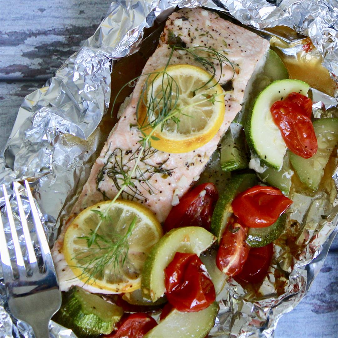 Flaky salmon with a delicious garlic butter herb sauce.