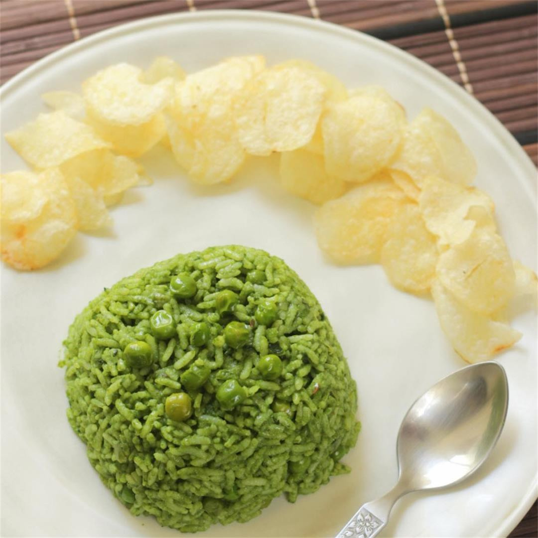 Palak and Peas Rice