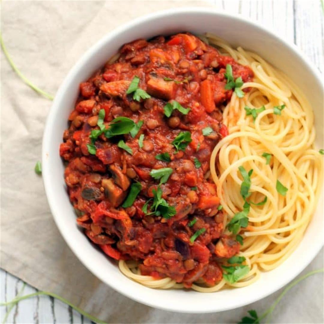 Lentil Spaghetti Bolognese