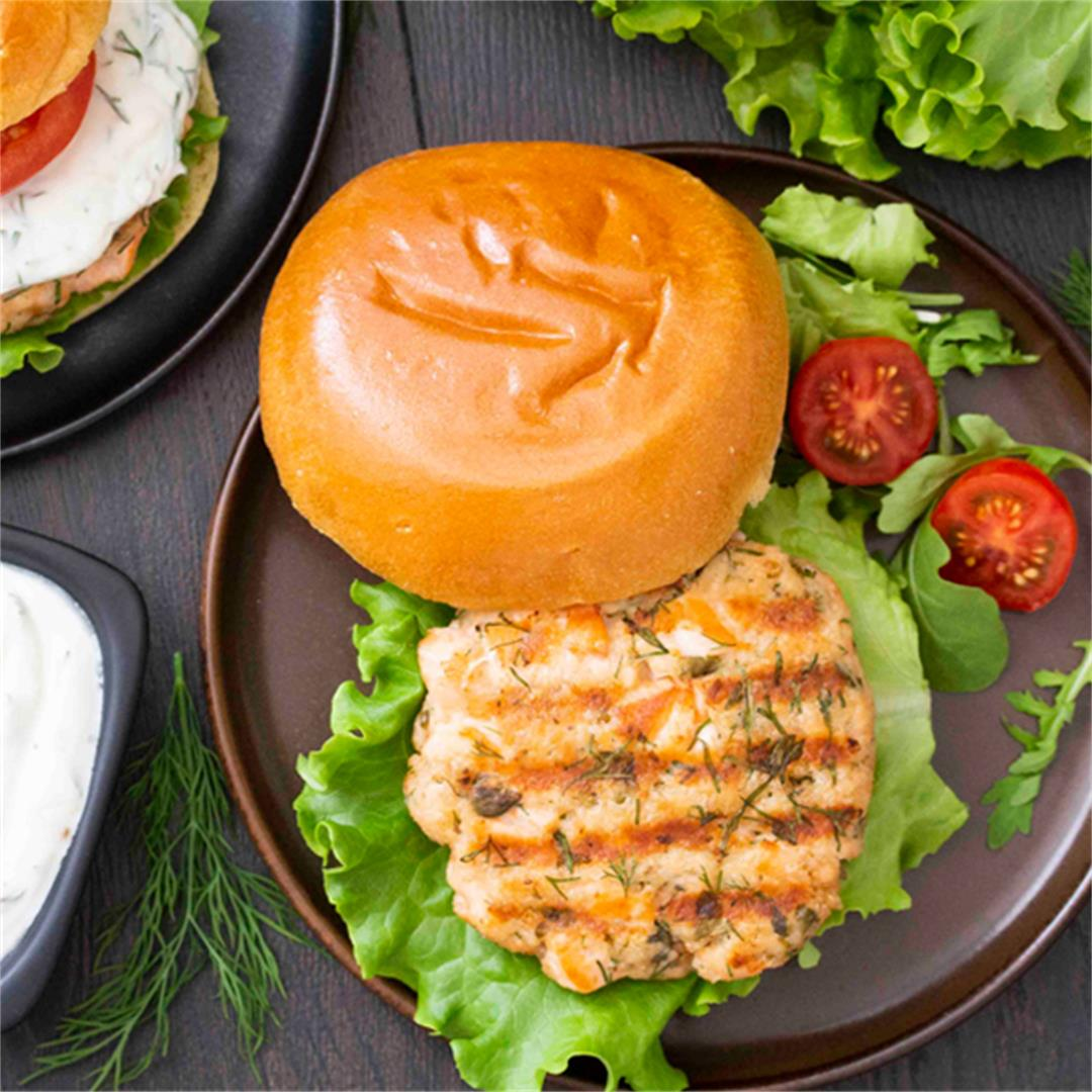 Swedish Salmon Burger with Lemon Yogurt Sauce