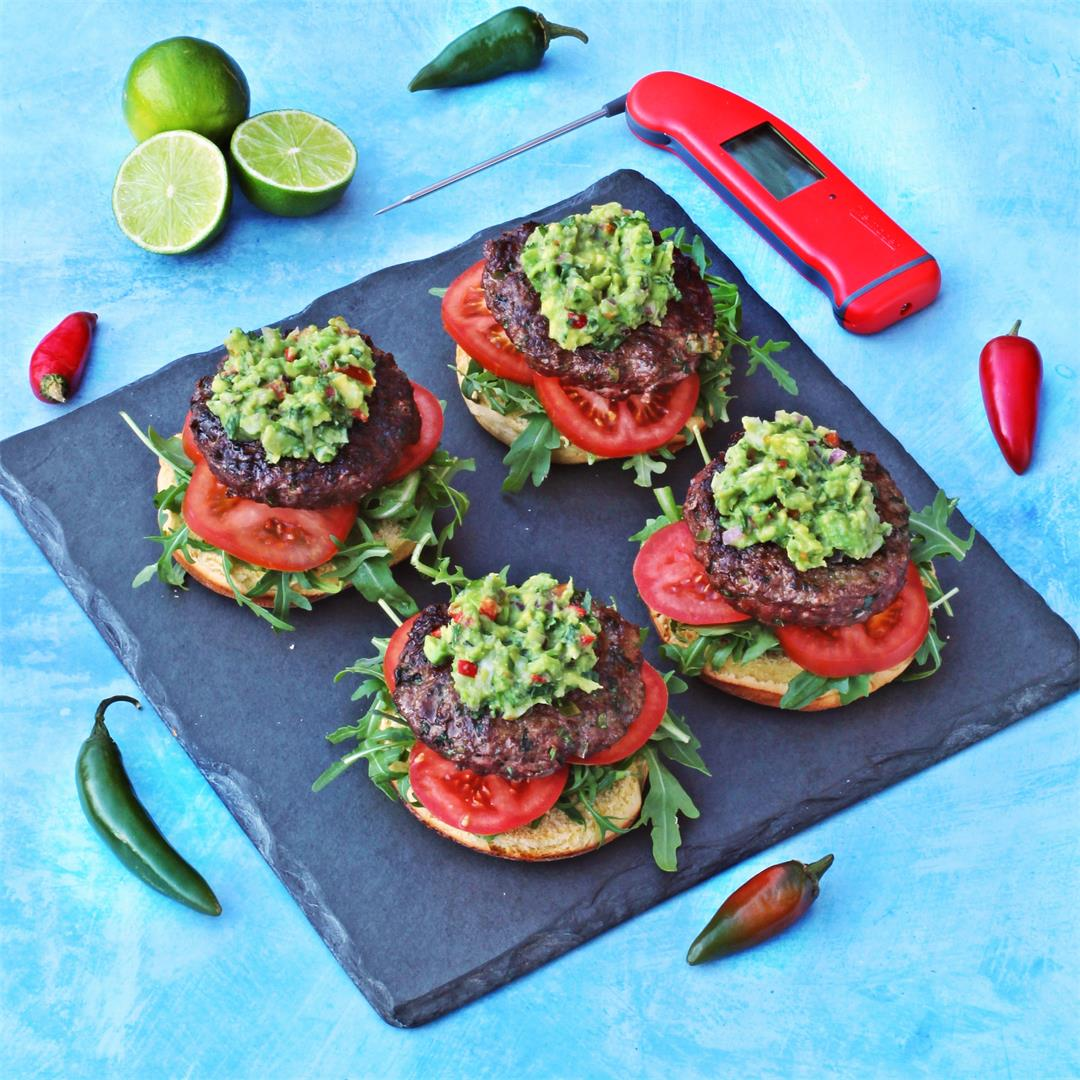 BBQ Chilli Burgers with Spicy Guacamole