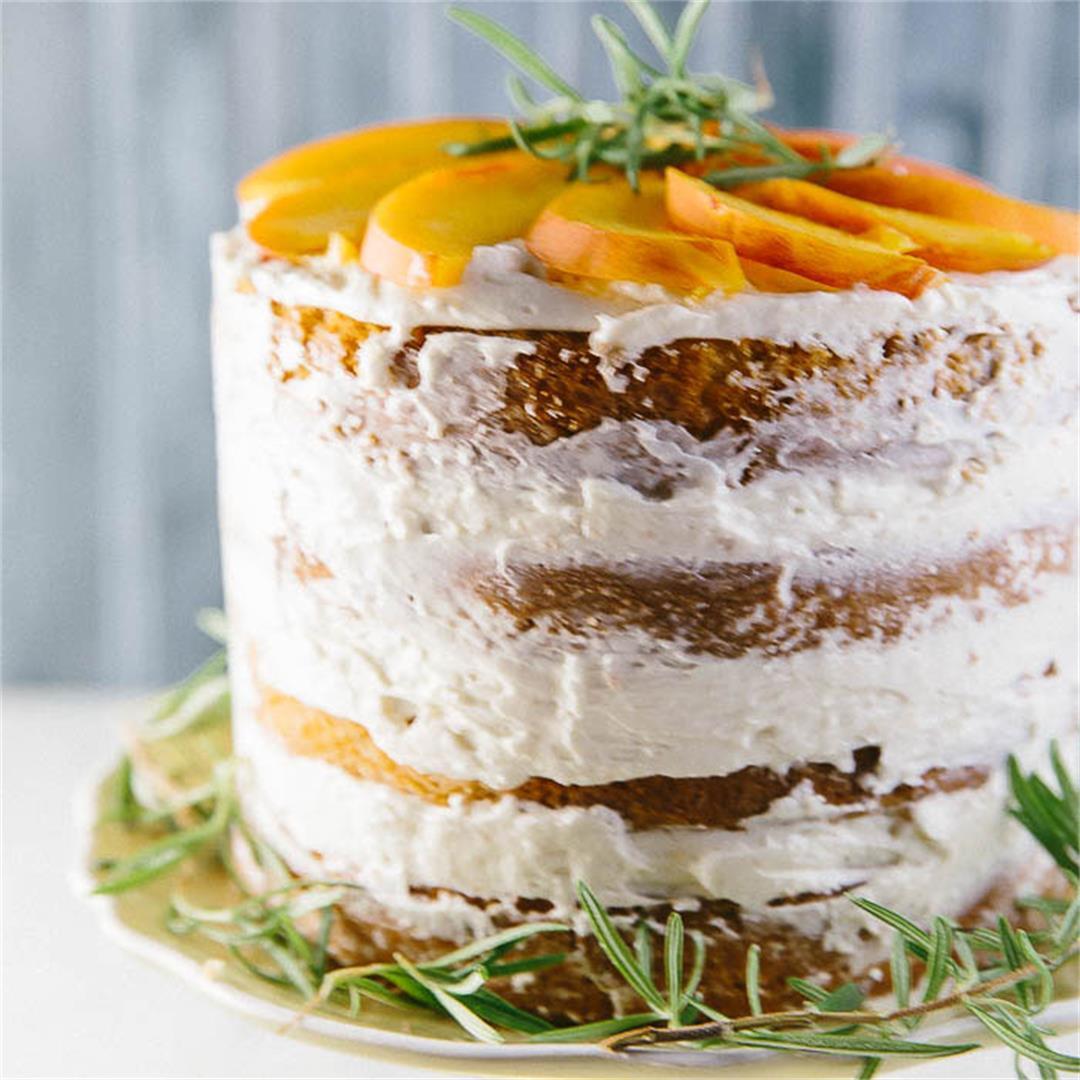 Naked Peach and Rosemary Cake