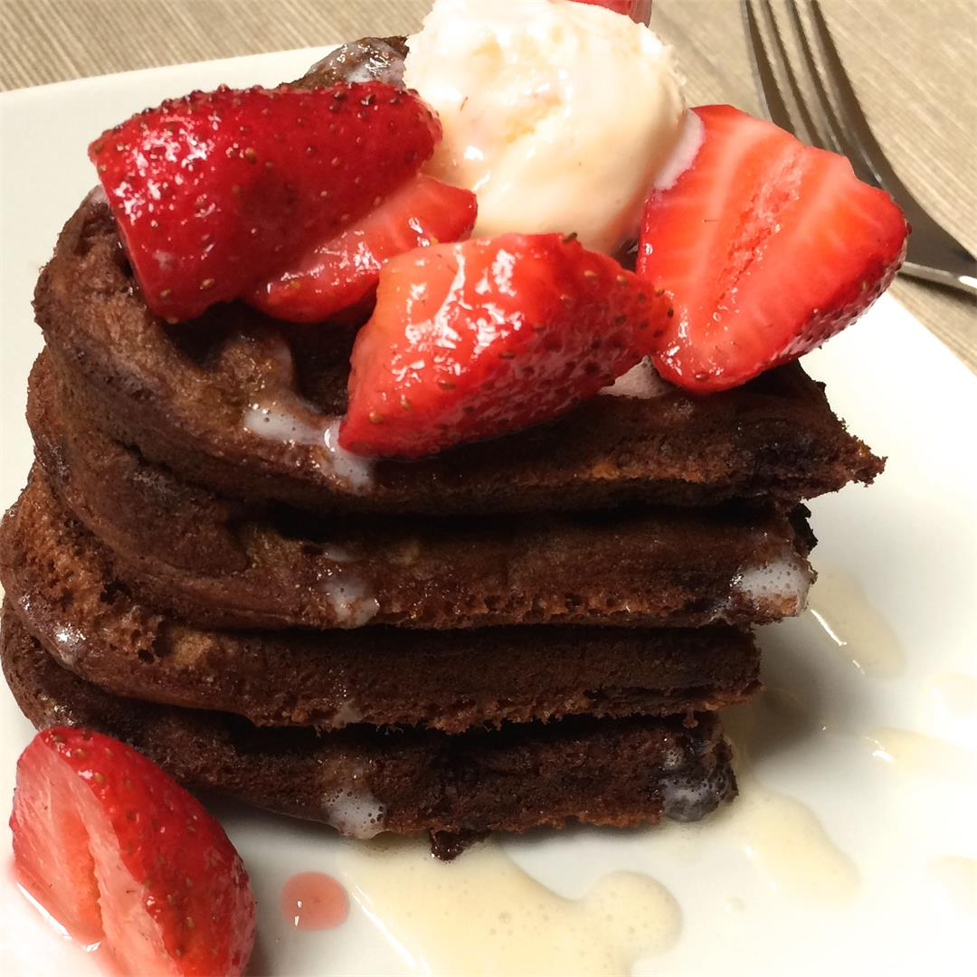 Chocolate Waffles with Macerated Strawberries