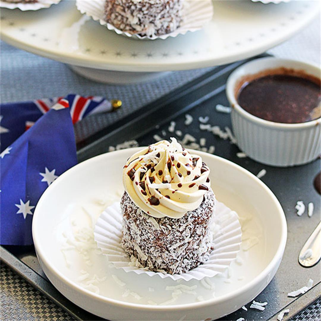 Lamington Cupcakes with Vanilla Buttercream