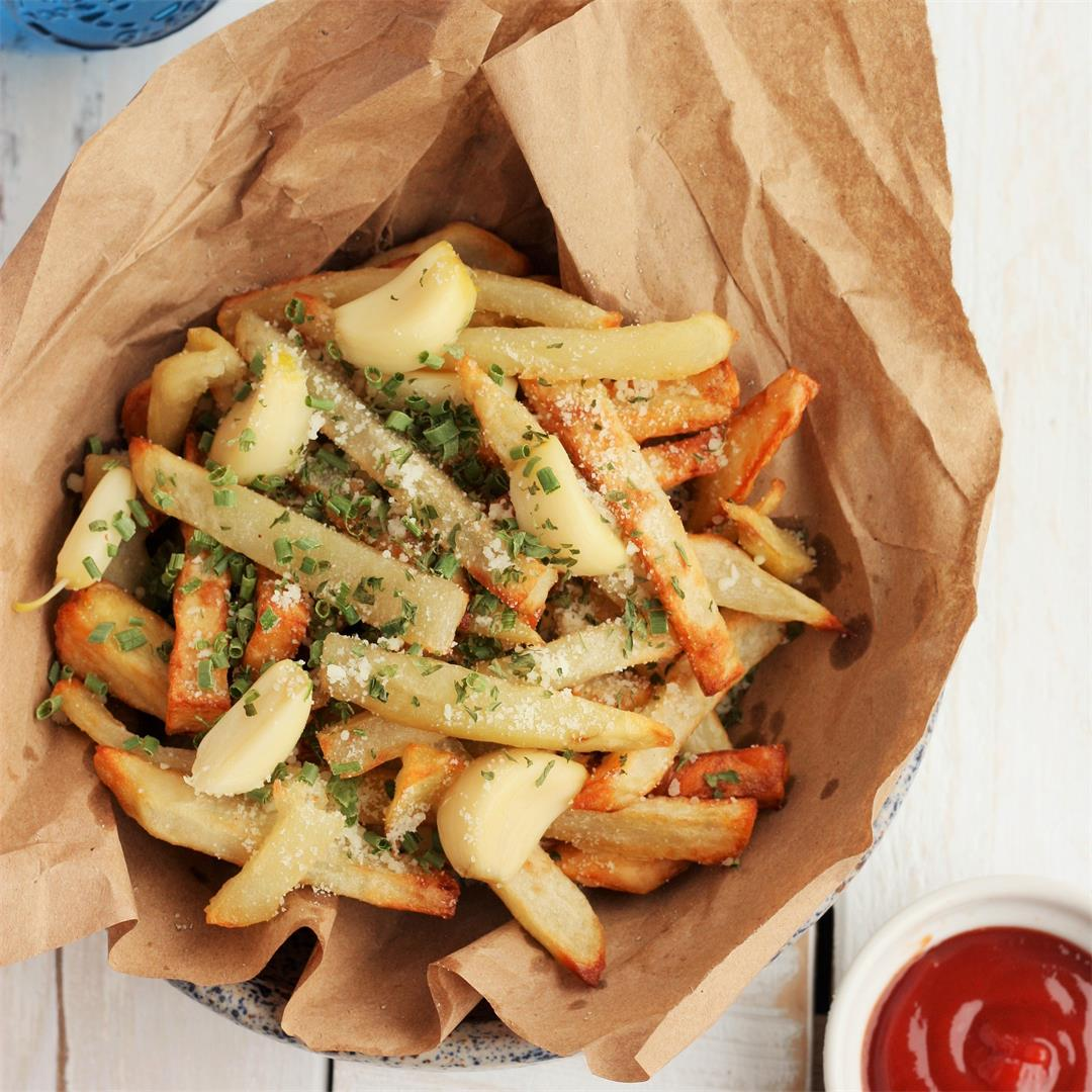 Air Fyer French Fries With Roasted Garlic and Parmesan