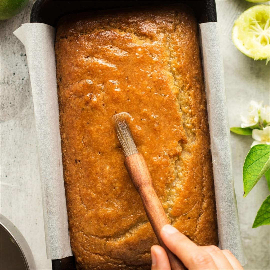Vegan coconut and lime drizzle cake