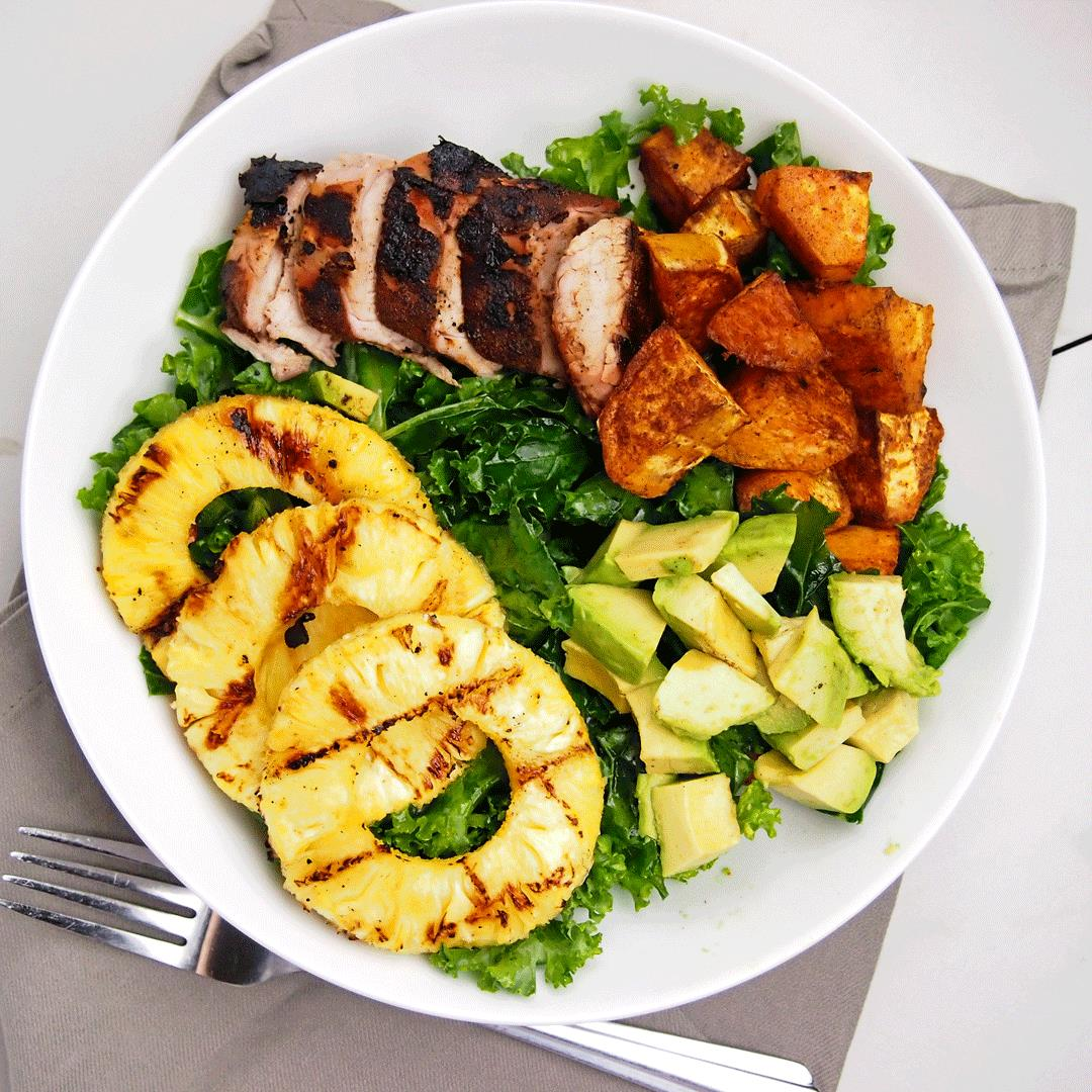 Grilled Pineapple and Jerk Pork Bowls