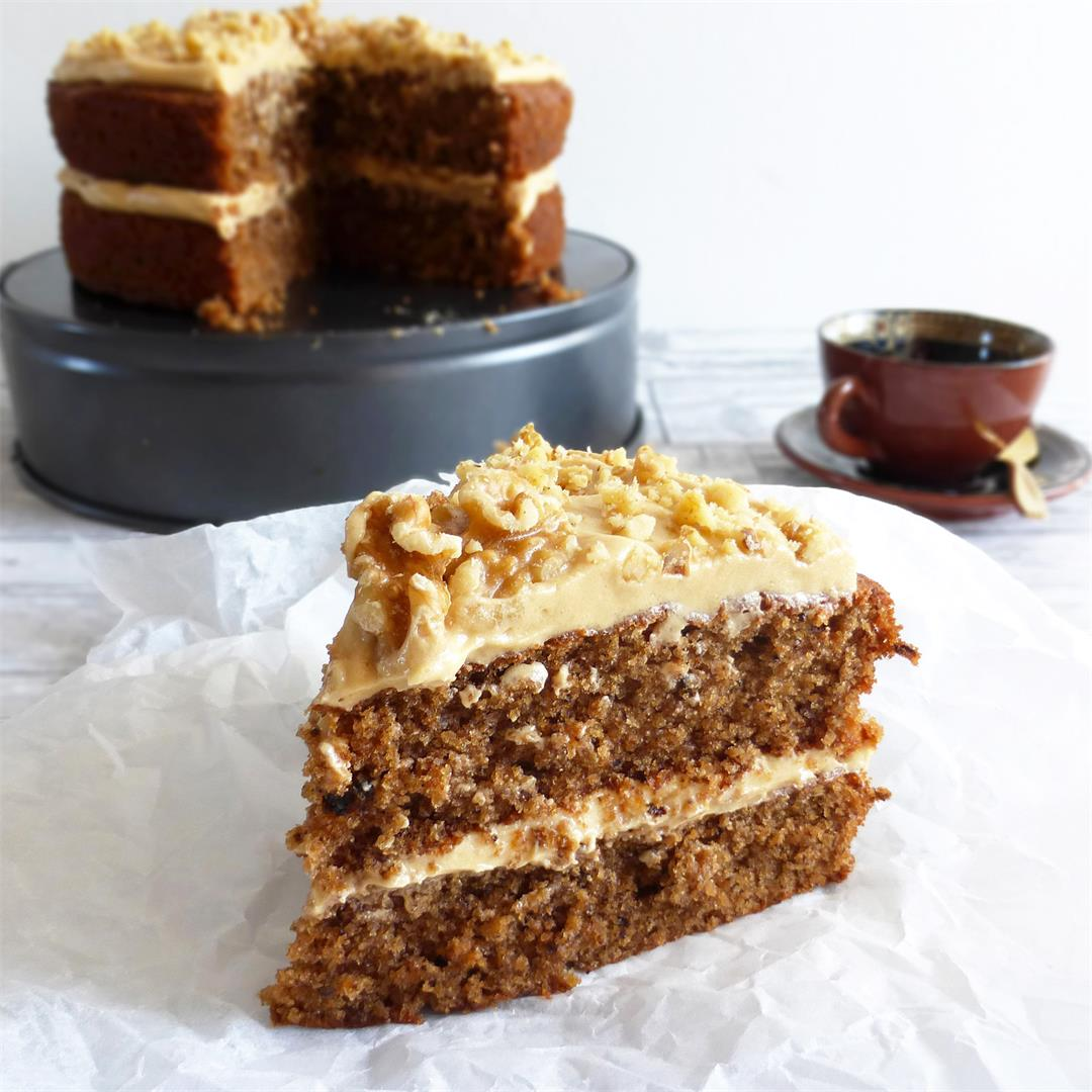 Coffee and Walnut Cake with Coffee Cream Cheese Buttercream Fro