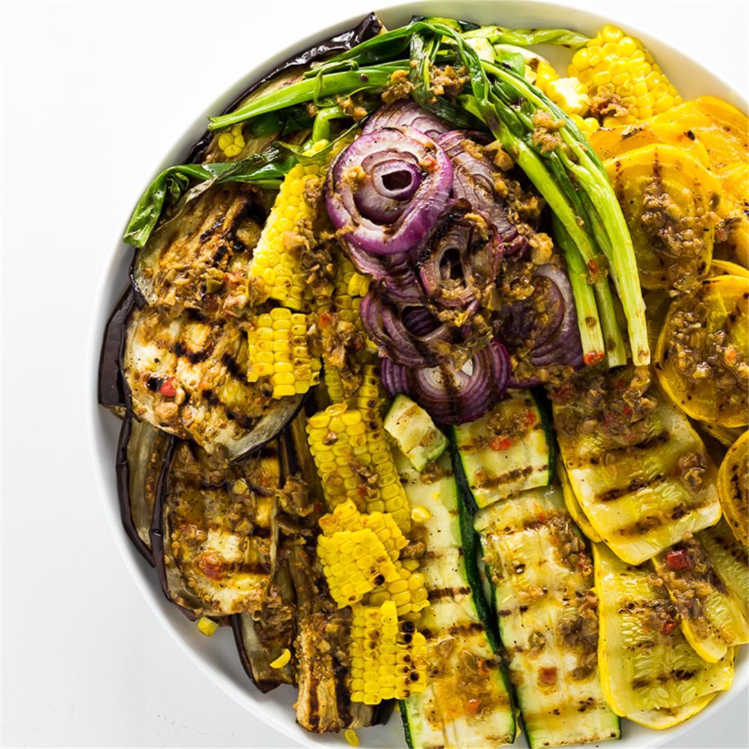 Grilled Summer Vegetables with Black Olive Tapenade Vinaigrette
