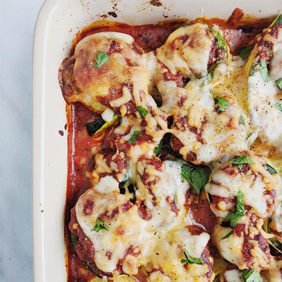 Three Cheese Zucchini Lasagna Rolls - low carb!