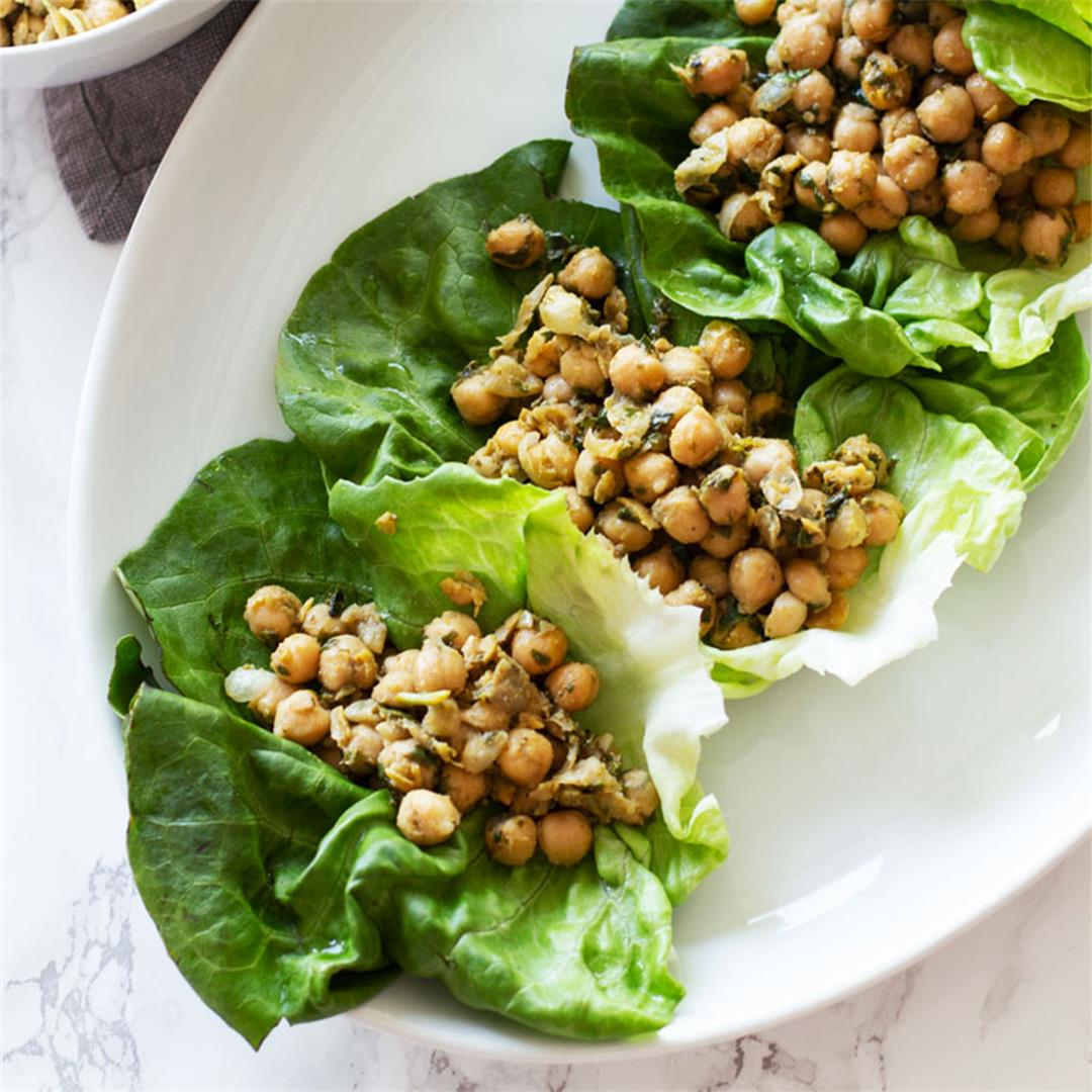 Pesto Chickpea Lettuce Wraps