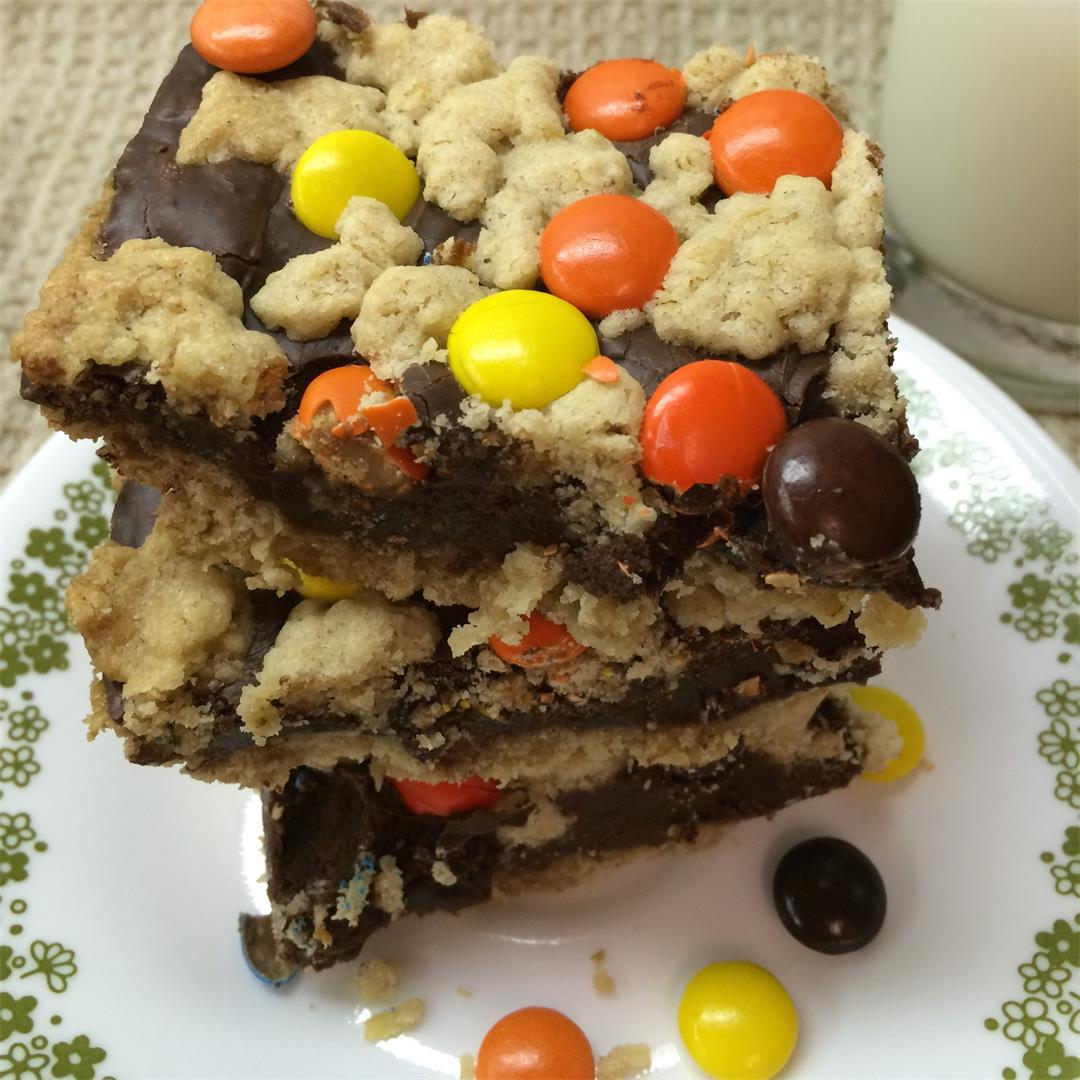 Reeses Pieces Chocolate Oat Bars