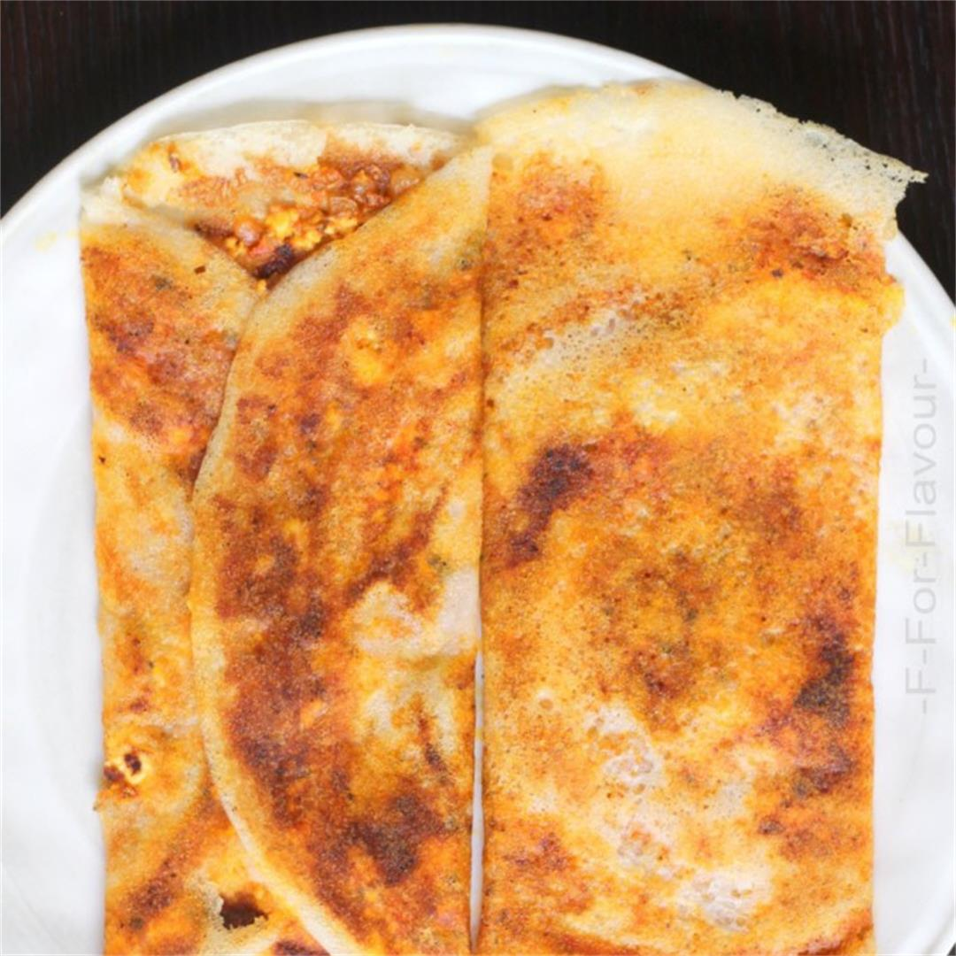 Crispy Paneer Masala Dosa / Crispy Indian Crepes