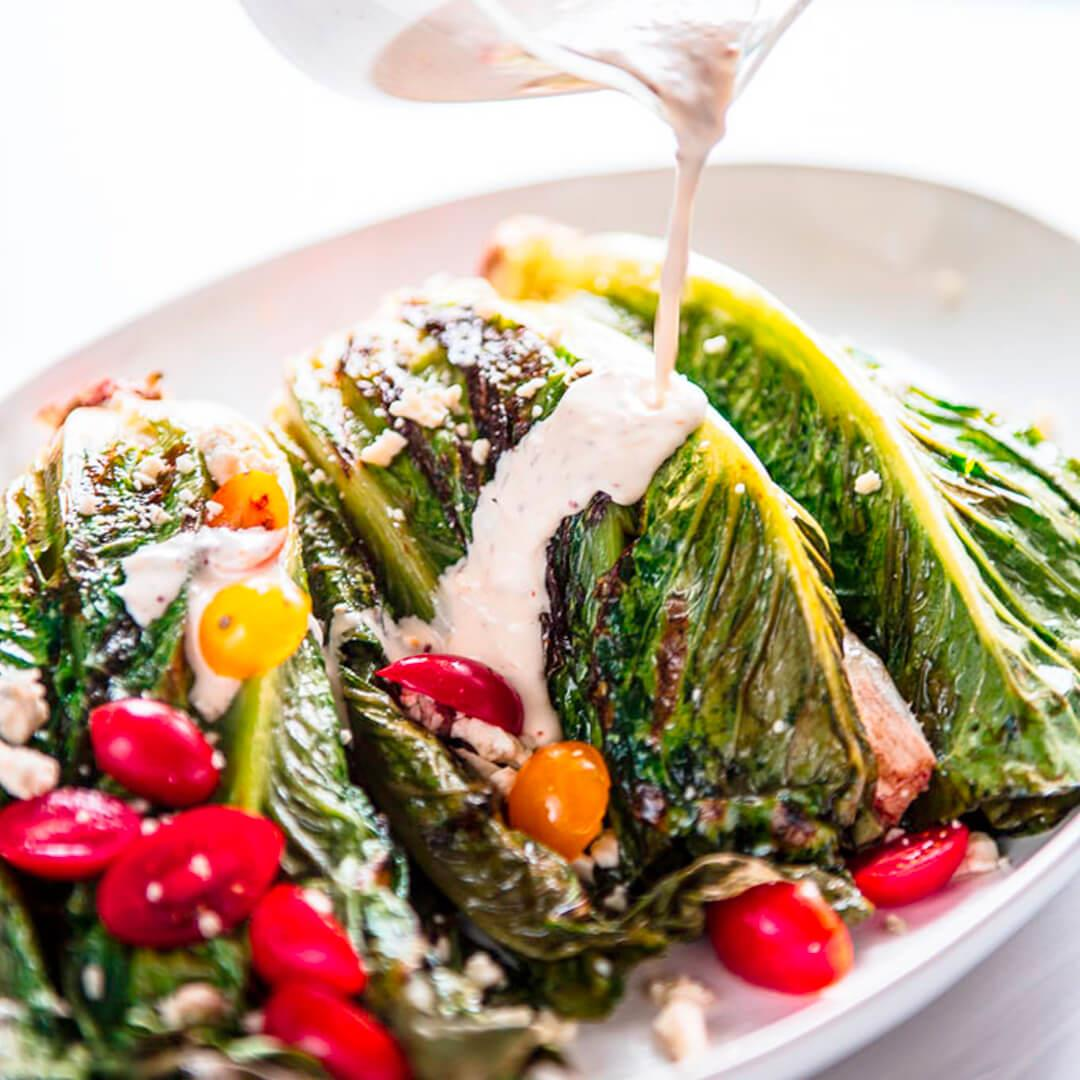 Easy Grilled Romaine with Vinaigrette