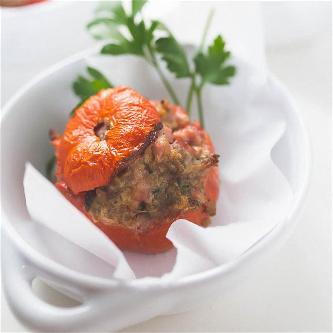 Ground Lamb Stuffed Tomatoes