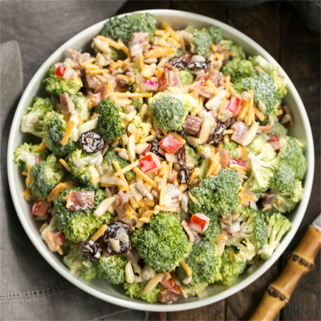Broccoli Salad with Bacon, Dried Cherries and Cheddar Cheese