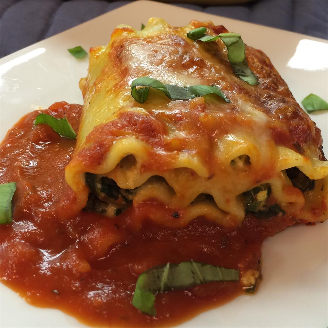 Spinach Ricotta Lasagna Roll Ups