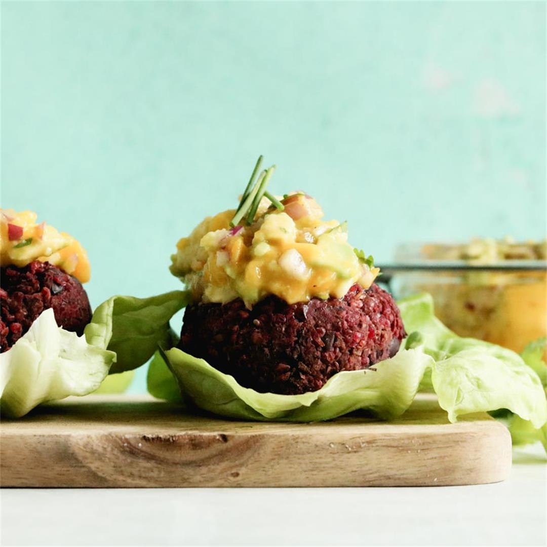 Vegan Beet Burger With Avocado Mango Salsa