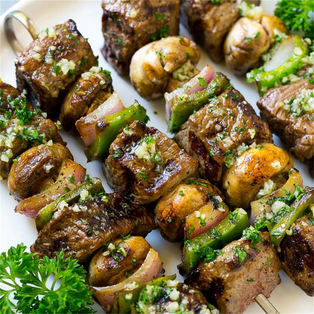Steak Kabobs with Garlic Butter