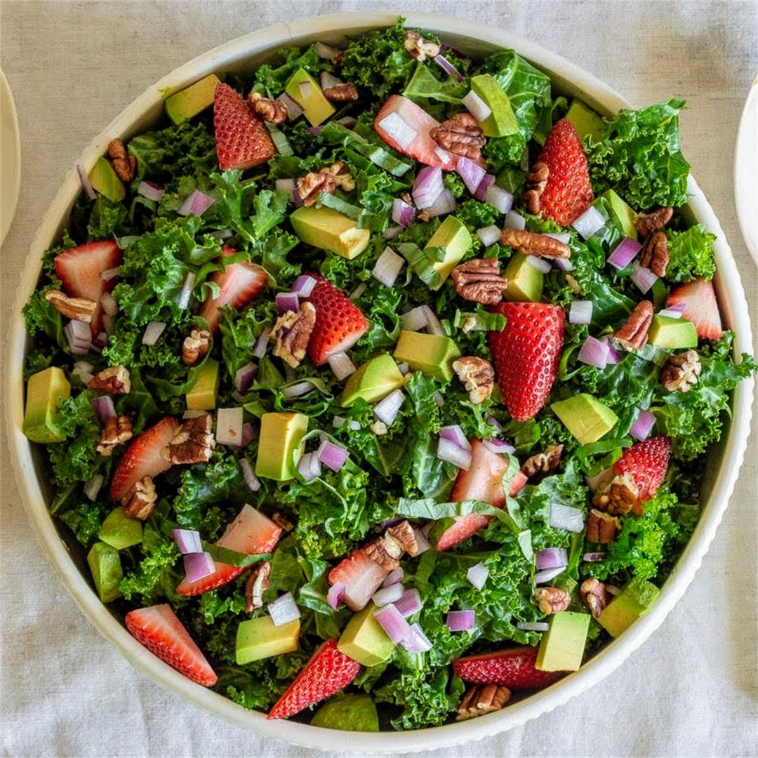 Kale Salad with Strawberry Balsamic Dressing