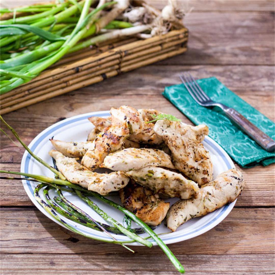 Garlic Scape, Lemon Chicken Tenders