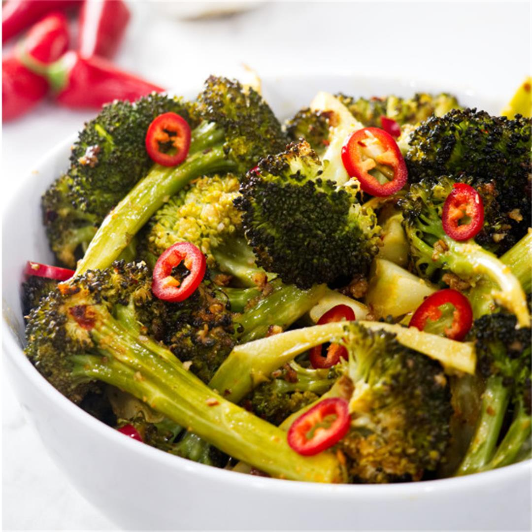 roasted lemon chili broccoli