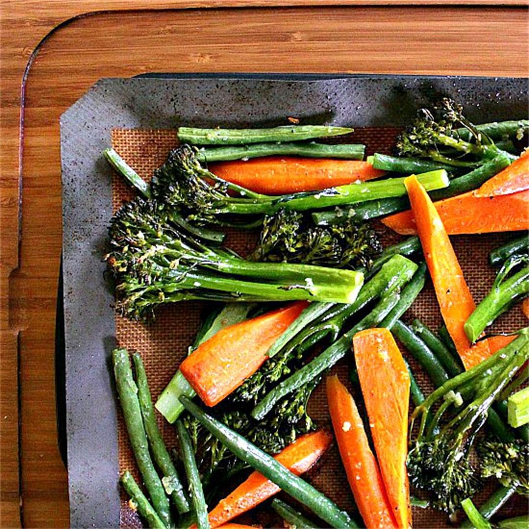 Roasted Broccolini, Green Beans and Carrots