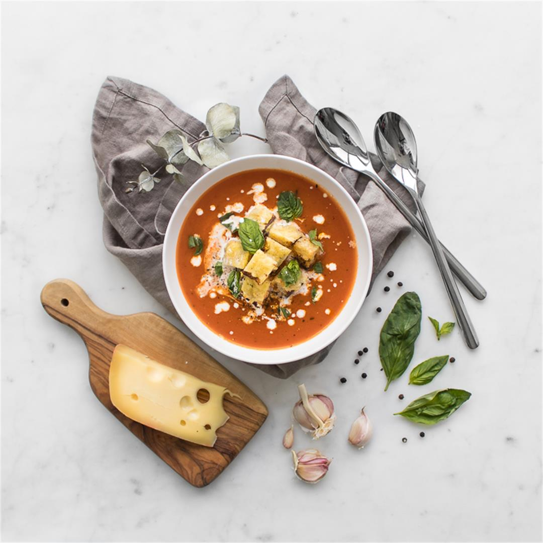 Roasted Tomato Soup and Grilled Cheese Croutons