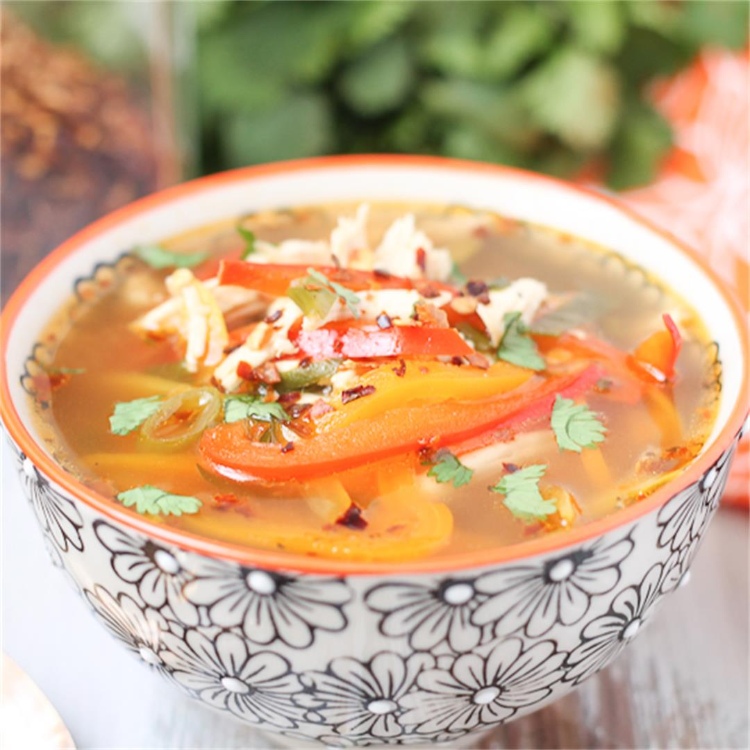 Spicy Chicken Soup with Peppers