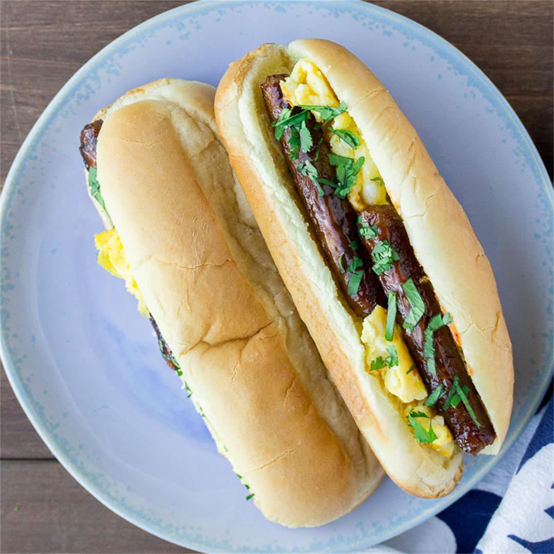 Grilled Sausage & Egg Sandwiches w/ Mango Barbecue Sauce