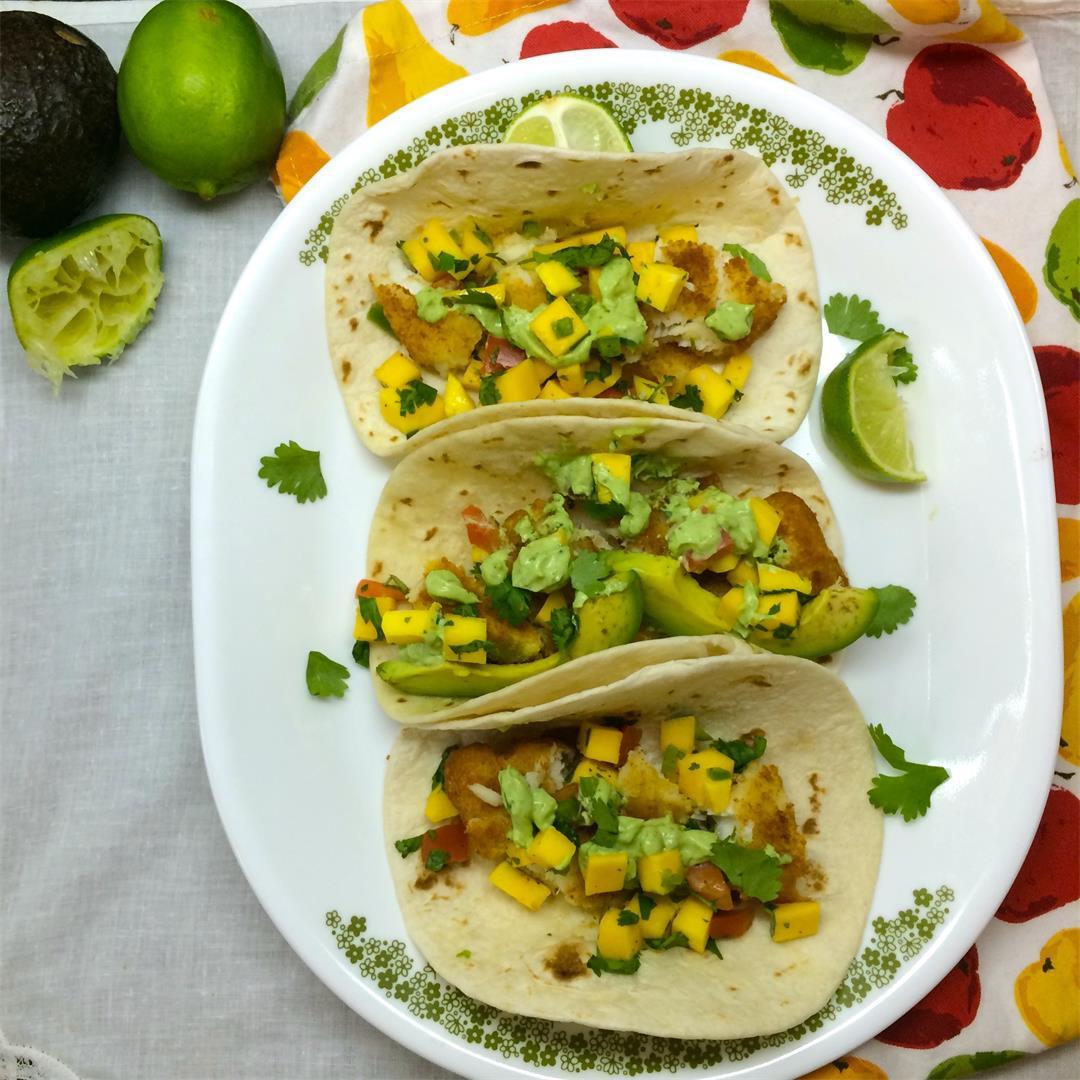 Crispy Fish Tacos with Cilantro Avocado Crema