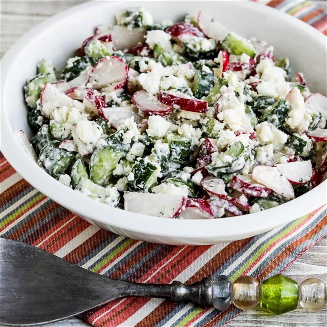 Cucumber and Radish Salad with Feta Dressing