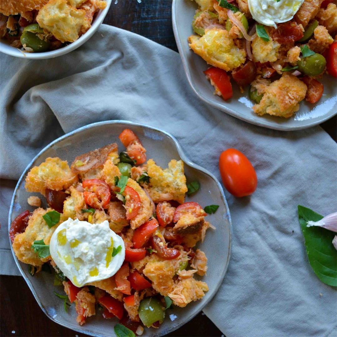 Rustic Italian Panzanella Salad - perfect for summer tomatoes!