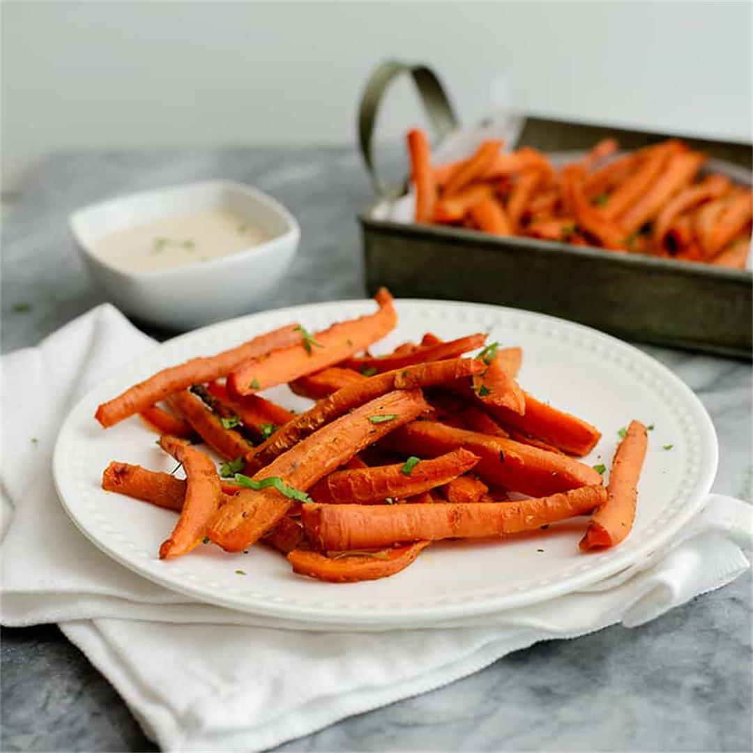 Spicy Curry Oven Baked Carrot Fries