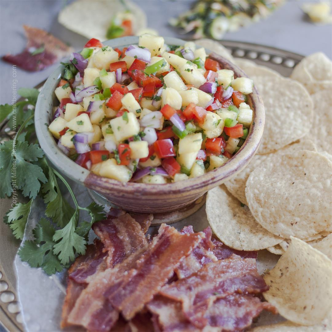Pineapple Salsa & Candied Bacon Chips