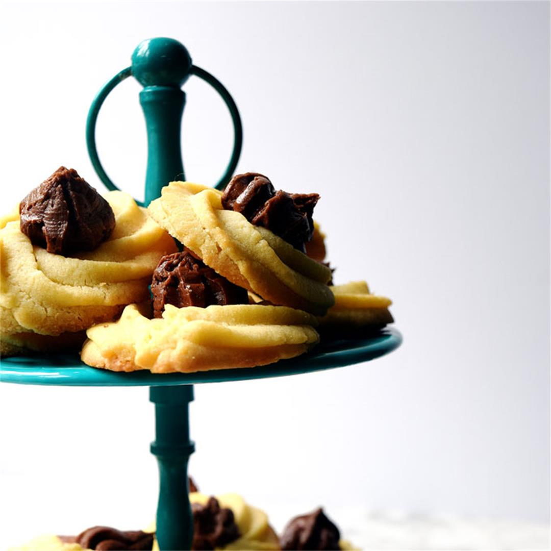 Butter Cookies with Chocolate Buttercream Rosettes.