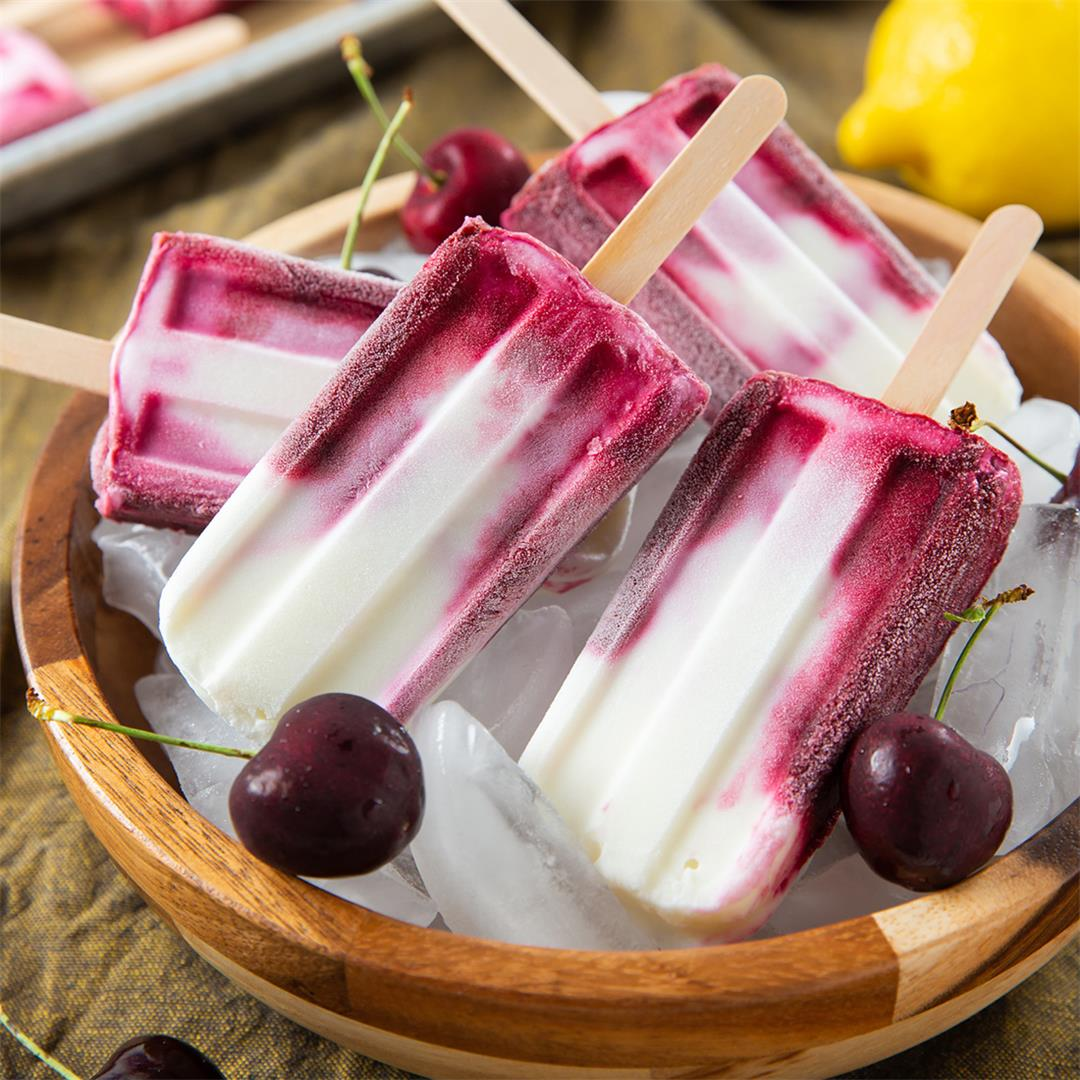 Roasted Cherry Yogurt Popsicles