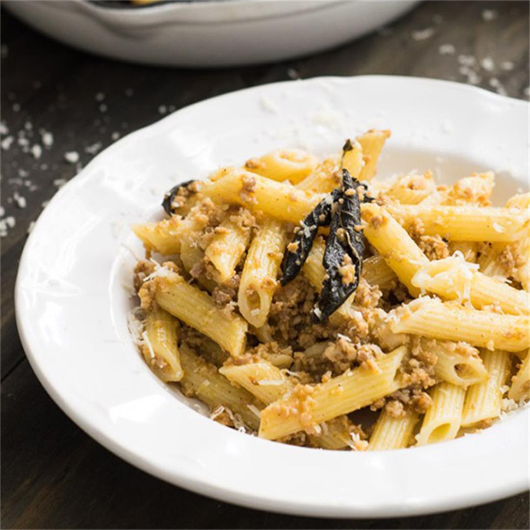 Penne Salsiccia Burro e Salvia {Sausage, Butter and Sage Pasta