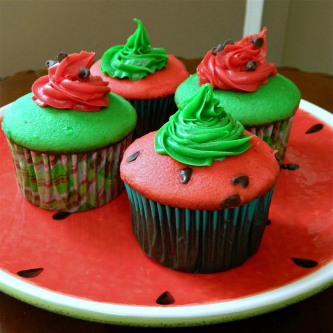 Simple Recipe... Cake Mix Watermelon Cupcakes