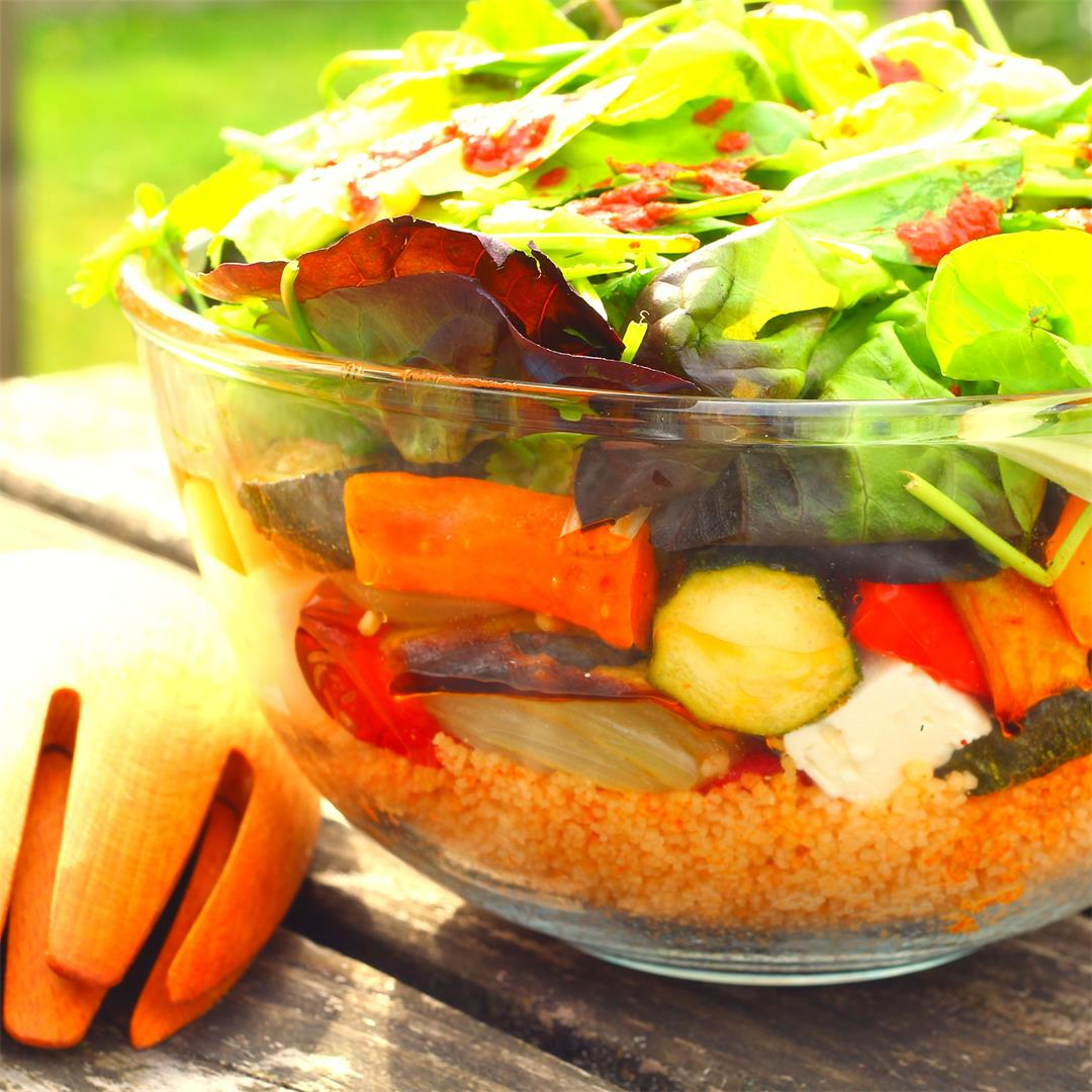 Moroccan Roast Vegetable Salad with Spiced Couscous.