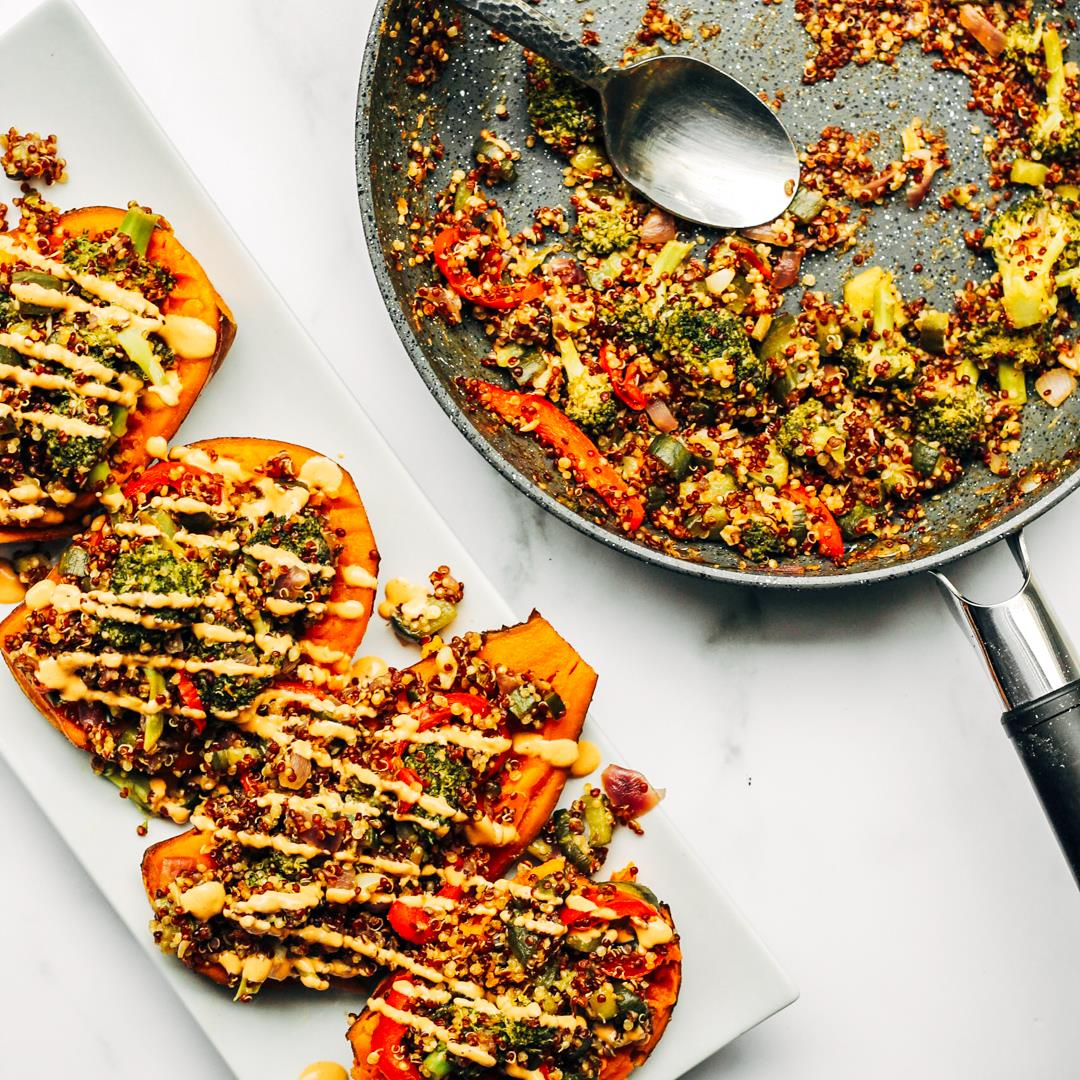 Vegan Stuffed Sweet Potatoes With Tahini Teriyaki Stir Fry