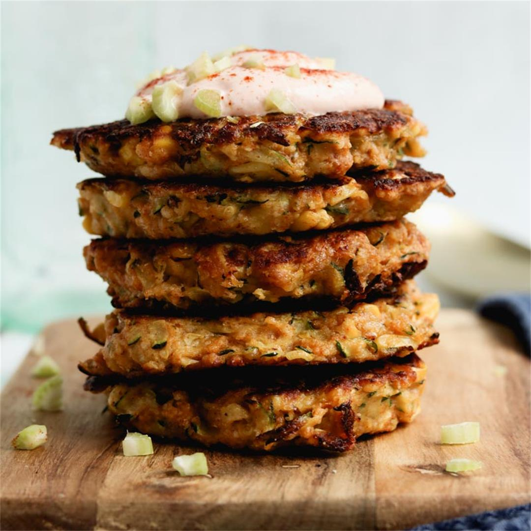 Gluten-Free Corn & Zucchini Fritters With Smoky Honey Yogurt