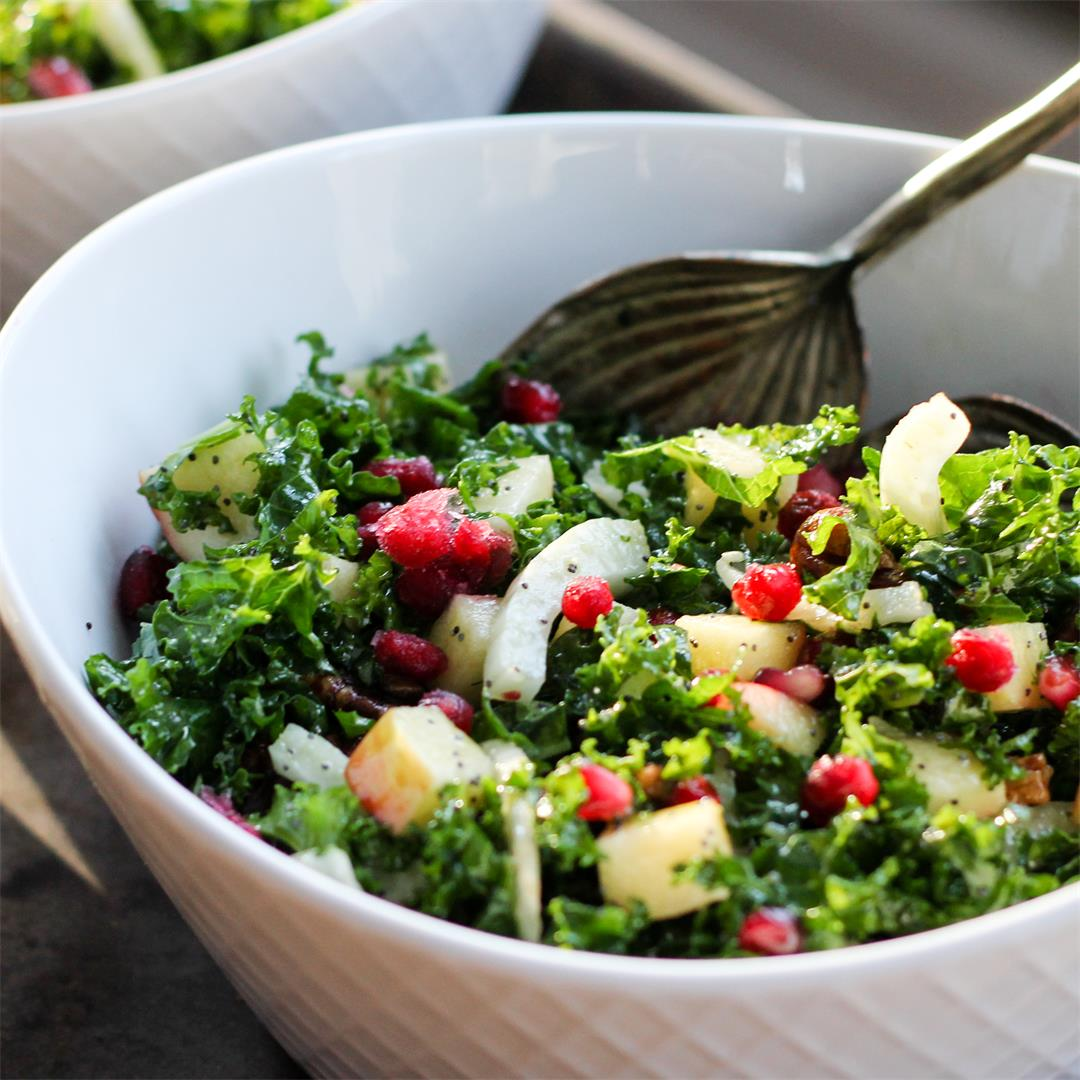 Sweet Kale and Apple Salad with Fennel and Pomegranates