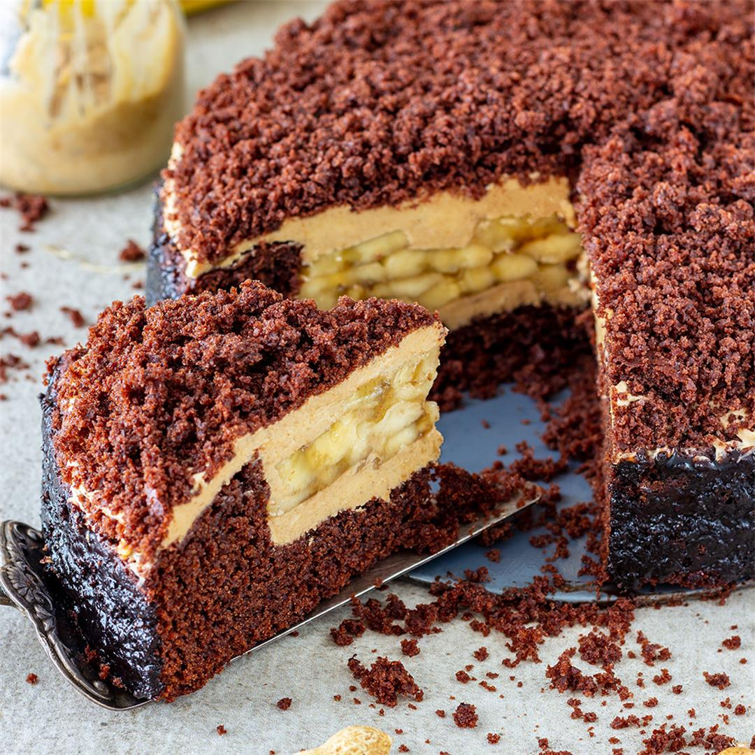 Banana Chocolate Peanut Butter Cake